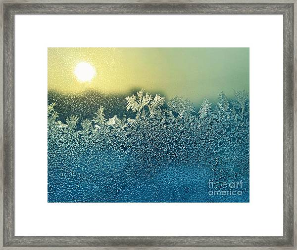 Frosty Natural Pattern And Sun On Framed Print
