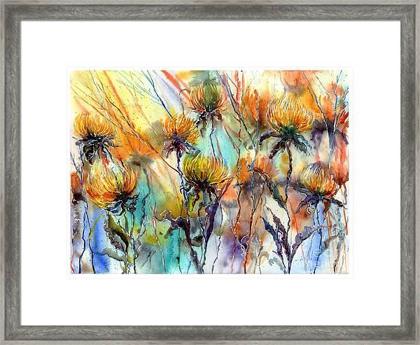 Frozen Chrysanthemums Framed Print