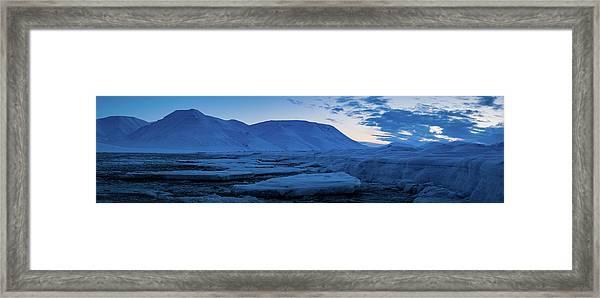 frozen coastline near Longyearbyen Framed Print