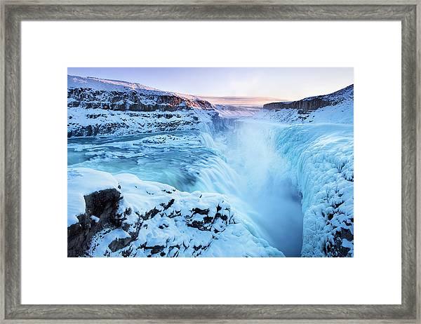 Frozen Gullfoss Falls In Iceland In Framed Print by Sara winter