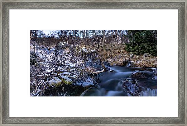 Frozen River And Winter In Forest Framed Print