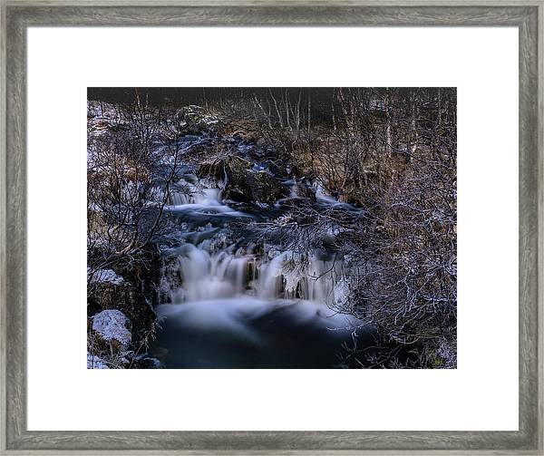 Frozen River In Forest - Long Exposure With Nd Filter Framed Print