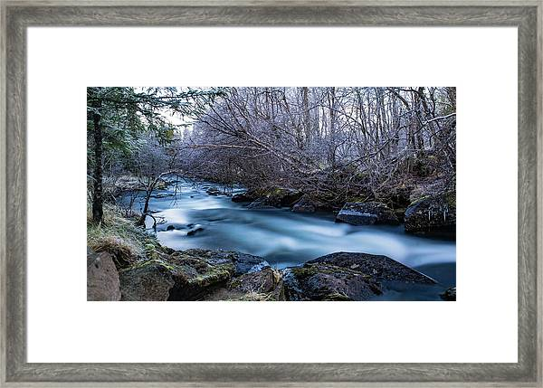 Frozen River Surrounded With Trees Framed Print
