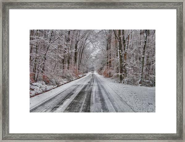 Frozen Road Framed Print