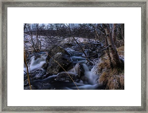 Frozen Stream In Winter Forest Framed Print