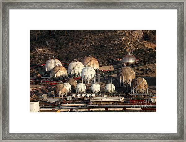 Fuel And Gas Storage Tanks At An Oil Framed Print