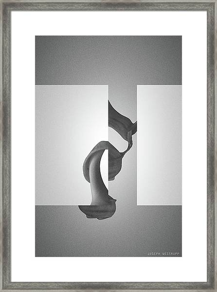 Fugue Mechanics In Black - Surreal Abstract Seashell And Rectangles Framed Print