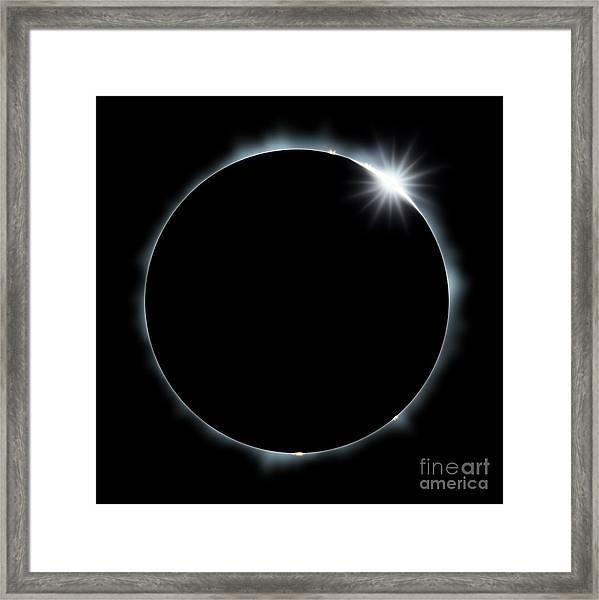 Full Eclipse Of The Sun On Black Framed Print