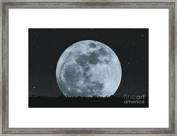Full Moon At Night With Stars With Framed Print