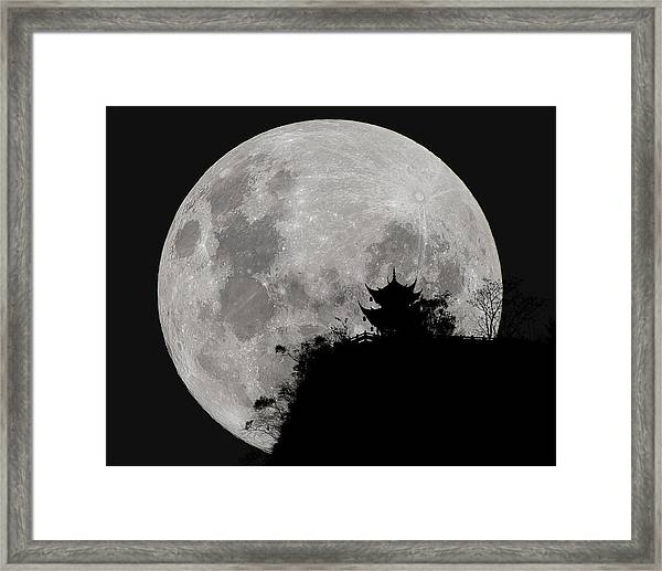 Framed Print featuring the photograph Full Moon Behind Clifftop Gazebo In Chengdu China by William Dickman