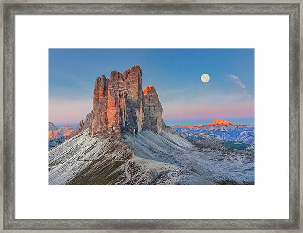 Full Moon Morning On Tre Cime Di Lavaredo Framed Print