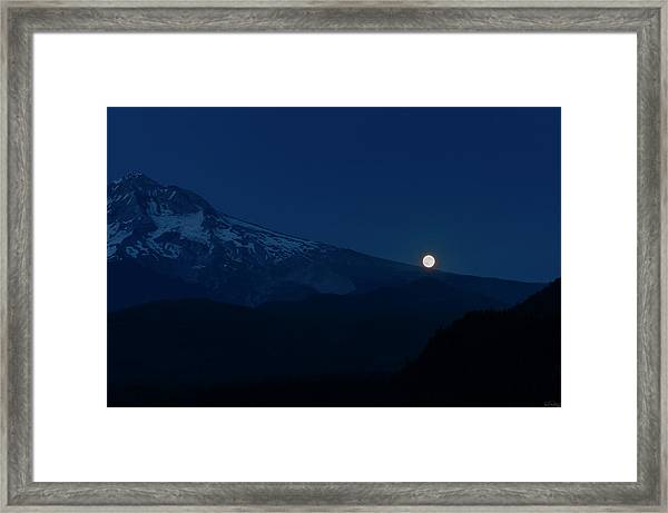 Framed Print featuring the photograph Full Moon On Mt. Hood Flanks by Dee Browning