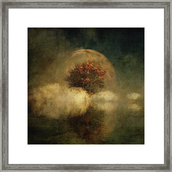 Framed Print featuring the digital art Full Moon Over Misty Water by Jan Keteleer