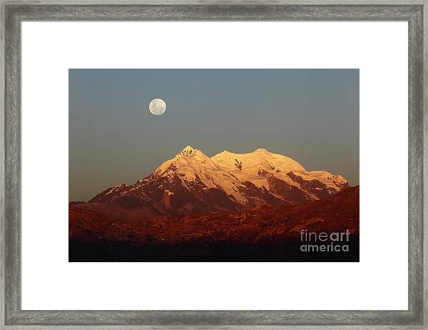 Full Moon Rise Over Mt Illimani Framed Print