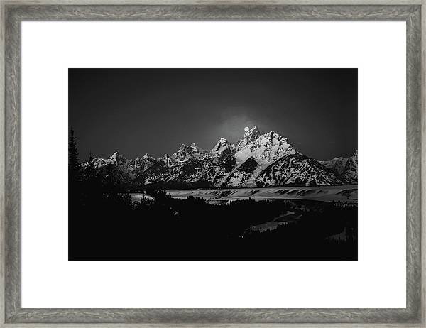 Full Moon Sets In The Tetons Framed Print