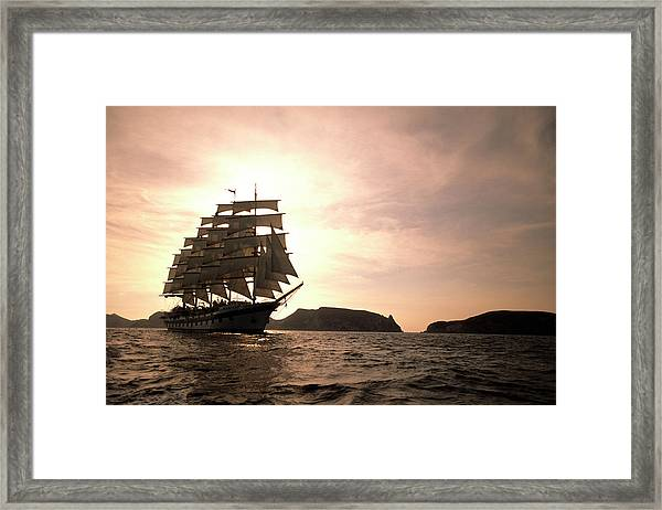 Full-sail Royal Clipper, Sailing In Framed Print