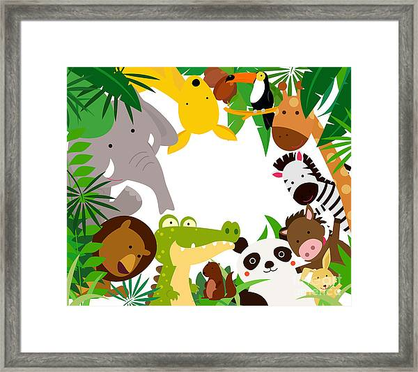 Fun Jungle Animals Border Framed Print