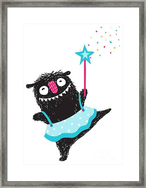 Fun Monster Dancing Princess Humorous Framed Print