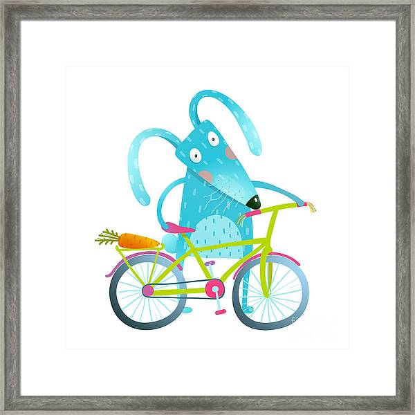 Funny Blue Bunny With Bicycle And Framed Print