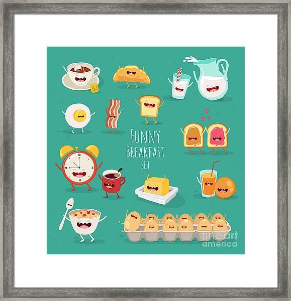 Funny Breakfast Set. Comic Characters Framed Print
