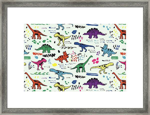 Funny Dinosaurs Graphic Color Vector Framed Print