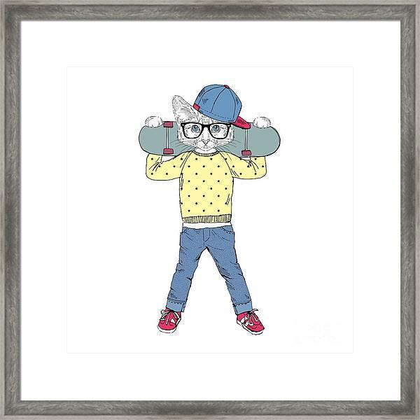 Funny Kitten Boy With Skateboard Framed Print