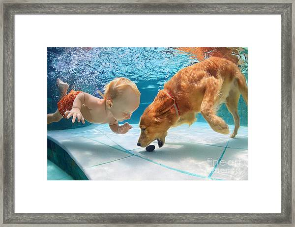 Funny Little Child Play With Fun And Framed Print by Tropical Studio