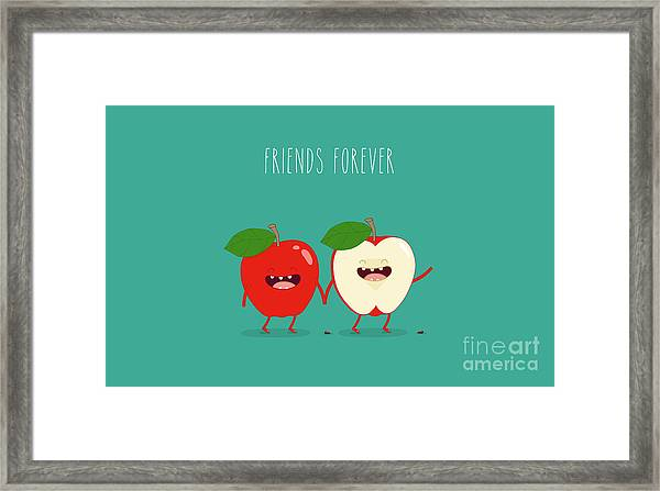 Funny Red Apple. Use For Card, Poster Framed Print