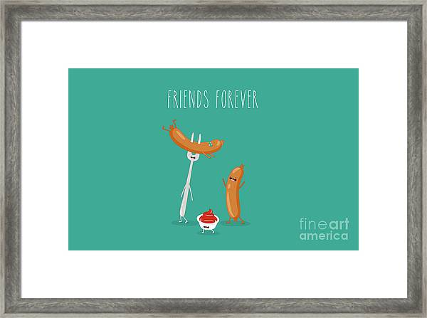 Funny Sausage On A Fork With Ketchup Framed Print