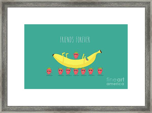 Funny Strawberry With Banana. Comic Framed Print