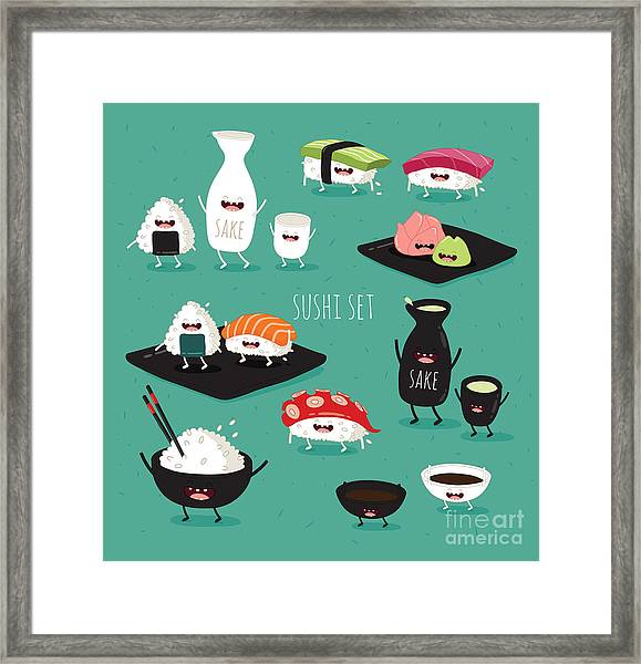 Funny Sushi Set. Bottle Of Sake, Sushi Framed Print by Serbinka