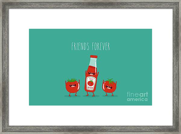 Funny Tomato Ketchup And Tomato. Friend Framed Print