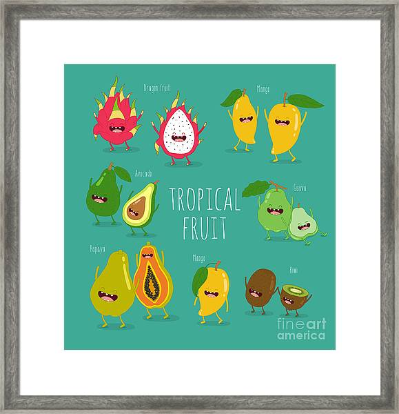 Funny Tropical Fruits. Guava, Papaya Framed Print