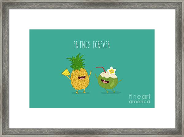 Funny Tropical Fruits. Pineapple And Framed Print