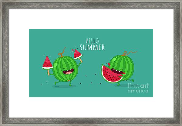 Funny Watermelon Eating A Piece Of Framed Print