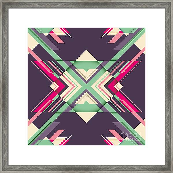 Futuristic Abstraction With Geometric Framed Print