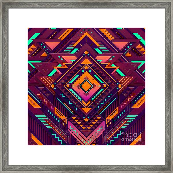 Futuristic Colorful Pattern. Triangles Framed Print