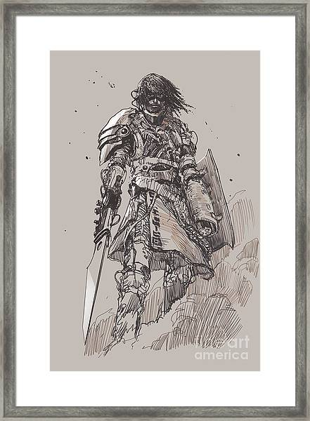 Futuristic Knight With Framed Print