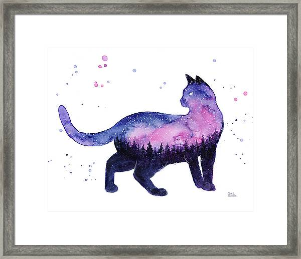 Galaxy Forest Cat Framed Print