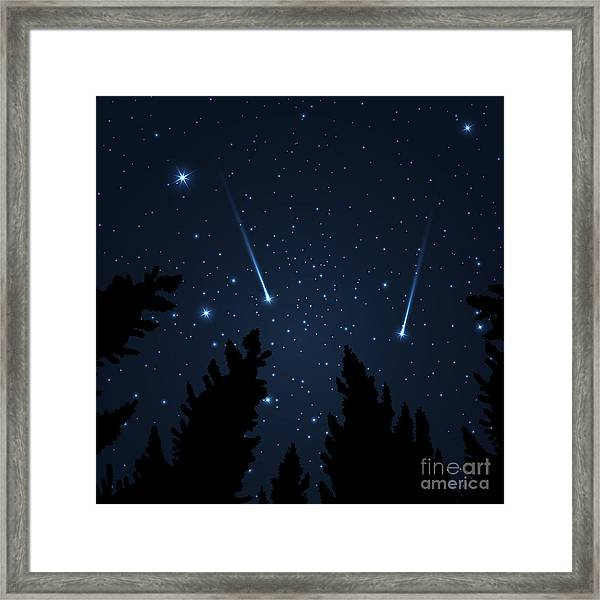 Galaxy With Framed With Pine Trees Framed Print