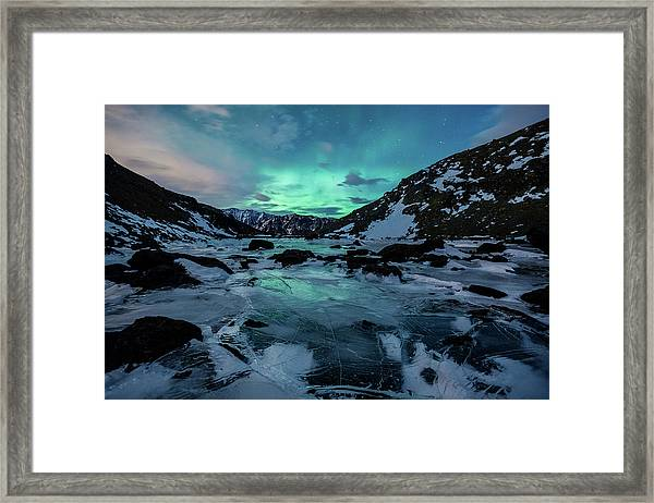 Gale-force Aurora H Framed Print
