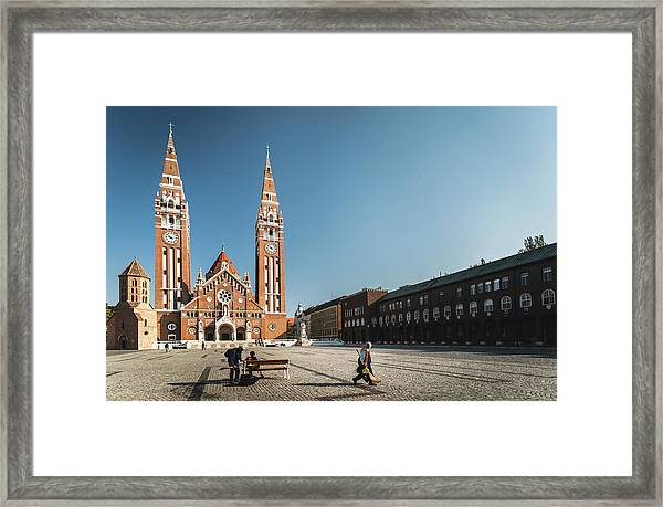 Garbage Cleaners On Dom Square In Szeged  Framed Print
