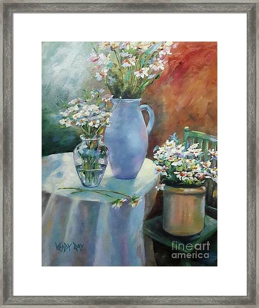 Framed Print featuring the painting Garden Daisies by Wendy Ray