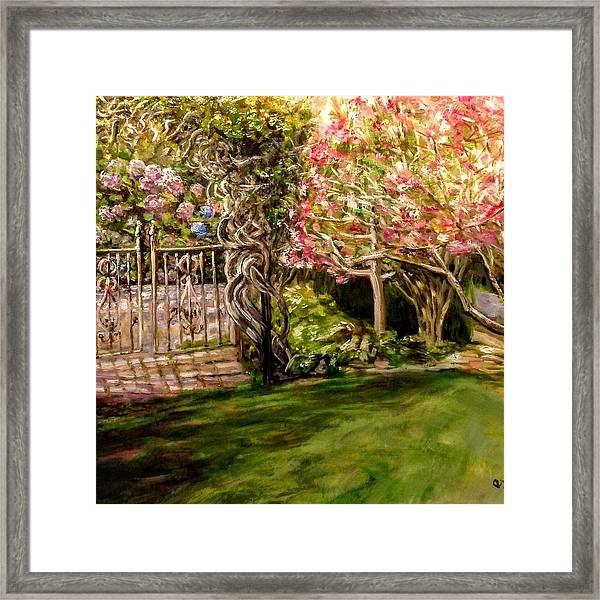 Garden Gate At Evergreen Arboretum Framed Print
