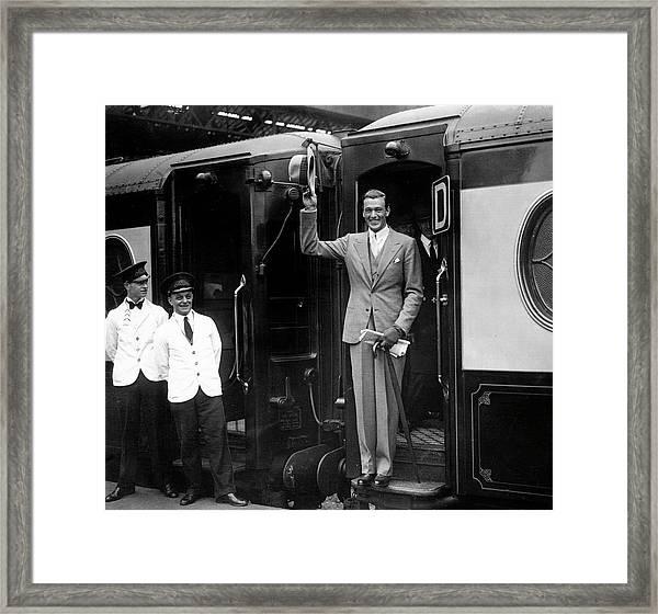 Gary Cooper Departs London Framed Print