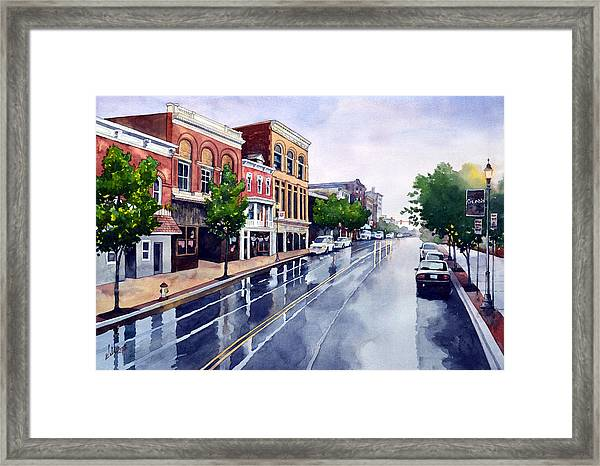 Gaslights And Afternoon Rain Framed Print