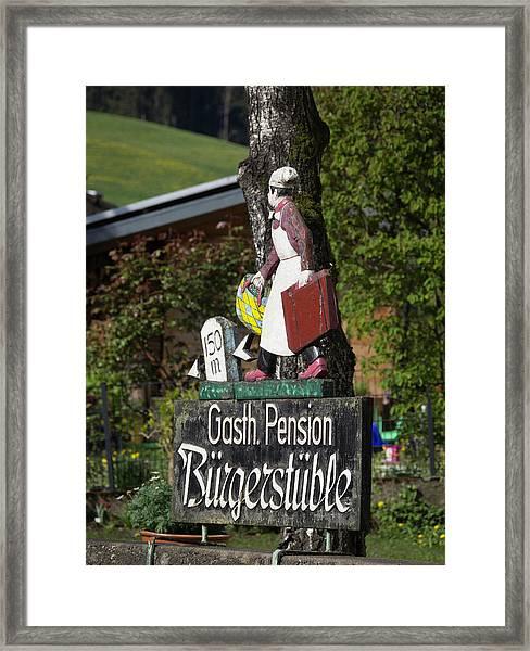 Gasthaus Pension Sign Framed Print