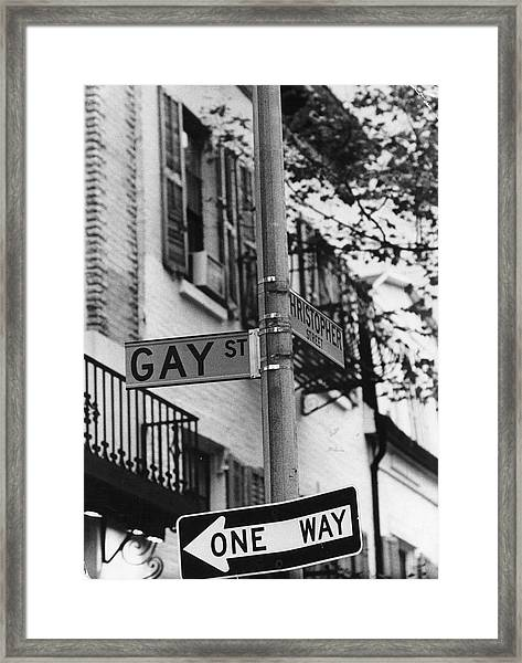 Gay & Christopher Streets Framed Print