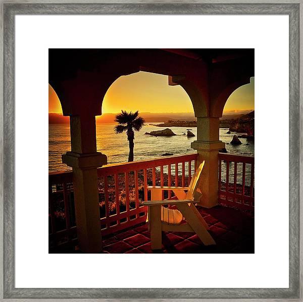 Gazebo View Of Central California Coast Framed Print