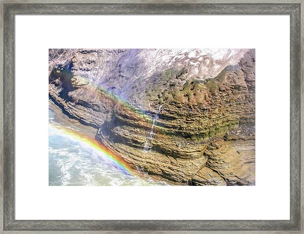 Genesee River With Rocks And Rainbow Framed Print